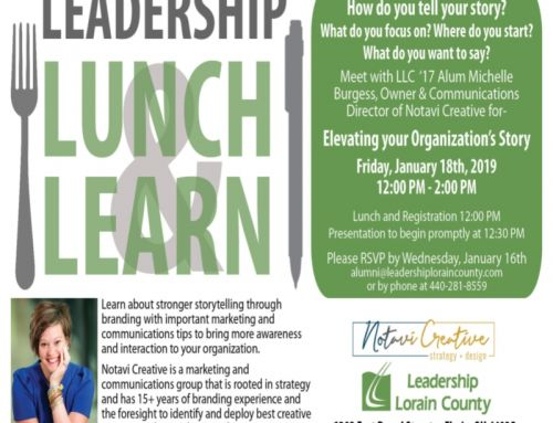 Notavi Creative speaking at Leadership Lorain County's Lunch and Learn on Friday, January 18